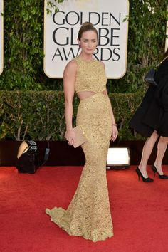 Emily Blunt in pale gold Michael Kors at the 2013 Golden Globe Awards.  Photo: Getty