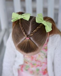 Quick style for church yesterday. A split rope twist with v parting into pigtails. Bows from The post Quick style for church yesterday. A split rope twist with v parting into pigtails. Bows from appeared first on Hair Styles. Little Girl Short Hairstyles, Kids Girl Haircuts, Easy Toddler Hairstyles, Girls Hairdos, Pigtail Hairstyles, Baby Girl Hairstyles, Trendy Hairstyles, Braided Hairstyles, Cute Hairstyles For Toddlers