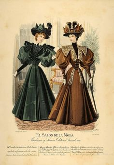 Vintage Hand Coloured Print - El Salon de la Moda