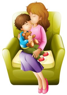 Mom and kid. Illustration of mom and her kid sitting on a chair , Image Mom, The Joys Of Motherhood, All In The Family, Cute Love Cartoons, Family Illustration, Mamas And Papas, Mothers Day Crafts, Drawing For Kids, Art Images