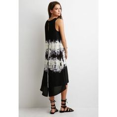 Tie Dye Layered Dress Black/Blue and white tie dye layered dress. Never worn. NWOT. No trades. No PayPal. Dresses