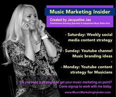 Coming up this week on the the Music Marketing Insider : Saturday: Weekly social media posting strategy brainstorm with a week of posting ideas for facebook, twitter and instagram Sunday: Youtube channel branding ideas for musicians Monday: Youtube content strategy to make your channel a must visit.  Do you need a strategist to get your music marketing on point? Come signup to work with me today. I'll keep you motivated and get you excited about your music marketing and the career ahead of…