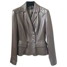 Pre-Owned Calvin Klein Collection Brown Leather Jacket Minimalist Chic, Calvin Klein Collection, World Of Fashion, Luxury Branding, Brown Leather, Jackets For Women, Leather Jacket, Clothes, Shopping