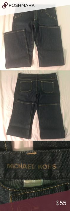 Michael Kors Low Rise Bootcut Jeans Gorgeous Michael Kors Low Rise Bootcut Dark Denim w/ gold stitching. EUC Only wore a few times. Size:14 Color: Dark Denim. They are light weight & also have a light stretch to them. Michael Kors Jeans Boot Cut