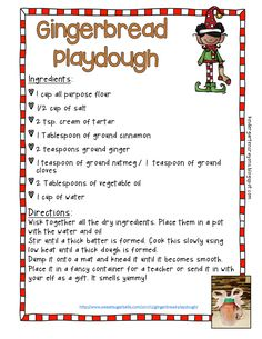 I love this playdough recipe for gingerbread. It smells yummy and my students love to use it during the winter months.