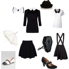"""Tuesday's date with Wednesday Addams"" by rainbowfilth on Polyvore"