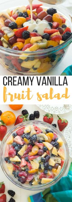 This Creamy Fruit Salad Recipe is made with a Homemade Vanilla Dressing -- no pudding mix here! It is the perfect summer breakfast, snack or dessert -- use whatever fruit you have! Includes step by st (Mix Berry Strawberry Blueberry) Creamy Fruit Salads, Fruit Salad Recipes, Dessert Recipes, Fruit Snacks, Fruit Fruit, Homemade Fruit Salad, Fruit Bake, Dessert Healthy, Fruit Salad Pudding