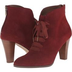 Adrienne Vittadini Tino (Cranberry Burnished Split Suede) Women's... ($75) ❤ liked on Polyvore featuring shoes, boots, ankle booties, ankle boots, red, red high heel boots, suede booties, suede lace up booties, suede ankle boots and faux suede lace-up booties
