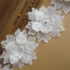 5x Satin Bow White Double Side,Big Applique Trimmings,Wedding-5cm x 4,5cm