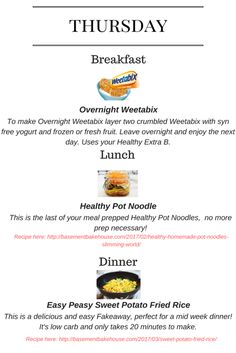 Seven Day - Slimming World Meal Plan