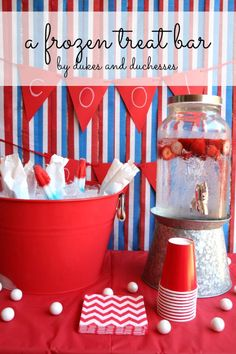 a frozen treat bar for summer entertaining with frozen treats on dry ice for a fun and practical solution to the summer heat Fourth Of July Decor, 4th Of July Decorations, 4th Of July Party, Diy Party Decorations, July 4th, Best Party Food, Party Food And Drinks, Ice Cream Party, Bbq Party
