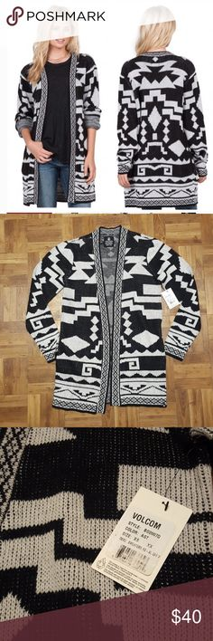 NWT Volcom Show Down Sweater Cardigan Size XS/S NWT Volcome Show Down Sweater Cardigan in a size XS/S.  Gorgeous Knit Aztec Pattern All Over.  Two side pockets.  Armpit to armpit is 18 inches  Shoulder to hem is 30 inches.  80% Acrylic 20% Nylon  MSRP is $75.00. Volcom Sweaters Cardigans