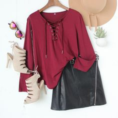 Add this rich and versatile color to your wardrobe. #burgundy #blouse #fashionoutfits #chicstyle #romwe