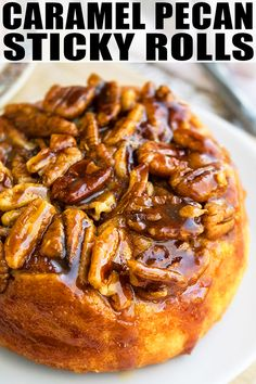 Homemade, easy caramel pecan sticky buns recipe, made with simple ingredients from scratch. These sweet rolls are the best and loaded with cinnamon, pecans. Pecan Cinnamon Rolls, Pecan Rolls, Cinnamon Pecans, Candied Pecans, Sticky Rolls, Pecan Sticky Buns, Recipe For Sticky Buns, Caramel Rolls, Caramel Pecan