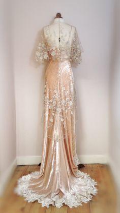 Joanne Fleming Design; embellished tulle and silk velvet Edwardian inspired wedding gown, 'Gabrielle Ray'