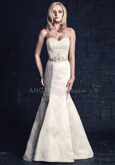 Elegant Mermaid Satin Floor Length Sweetheart Wedding Dress With Sash/ Ribbon