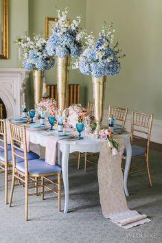 Rose Quartz & Serenity are the New Colors of Cinderella Quinceanera Themes, Quinceanera Decorations, Cinderella Wedding, Blue Hydrangea Wedding, Wedding Flowers, Wedding Centerpieces, Wedding Decorations, Quince Themes, Baby Blue Weddings