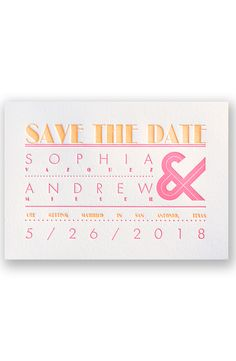 Typography Love Letterpress Save the Date by David's Bridal | Follow us and start pinning pretty paper options - from invitations and save the dates to programs and table numbers - for a chance to win $1,000 to InvitationsbyDavidsBridal.com. Enter here: http://sweeps.piqora.com/rsvpready