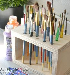 DIY Easy paint brush storage rack - woodworking for beginners