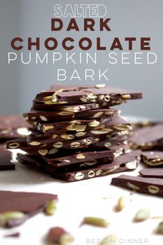 dark chocolate pumpkin seed bark is the perfect crunchy bite to satisfy your fall sweet tooth!Salted dark chocolate pumpkin seed bark is the perfect crunchy bite to satisfy your fall sweet tooth! Easy Chocolate Desserts, Chocolate Bark, Craving Chocolate, Chocolate Chocolate, Pumpkin Seed Recipes, Bark Recipe, Healthy Pumpkin, Pumpkin Dessert, Vegan Sweets