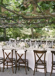 beautiful long tables and silver centerpieces