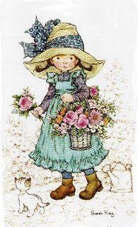 Soloillustratori: Holly Hobbie- Sarah Key e Sambonnet Sarah Key, Holly Hobbie, Mary May, Australian Artists, Cute Little Girls, Illustrations, Cute Illustration, Vintage Cards, Vintage Children