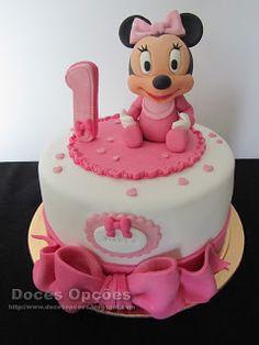 Doces Opções: Bolo de 1º aniversário com a bebé Minnie 1, Cake, Disney, Desserts, Food, Decorating Cakes, Sweets, Princess, Tailgate Desserts