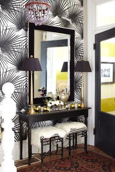 Entryway Wall Decor Ideas | Entryway with Patterned Walls, Wooden Table, Wood Framed Mirror and ...
