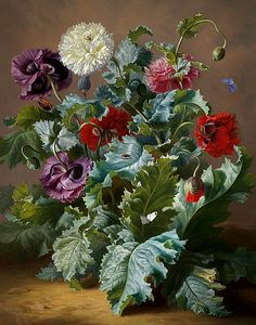 Adele Schuster Still Life with Poppies and Butterflies 19th century
