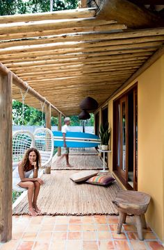 Pergola With Fireplace Pergola Plans, Pergola Kits, Pond Design, House Design, Balinese Decor, Surf House, Bamboo House, Dream Beach Houses, Outdoor Living Rooms