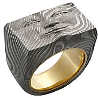 Brick Face ring in Damascus steel with 18k gold liner; $2,750; a Chris Ploof and Anthony Lent collaboration, Philadelphia; 215-499-3582; anthonylent.com