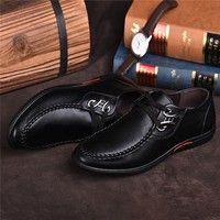 Wish | Mode Cuir d'affaires Souliers simple d'homme Chaussures Imperméables Respirant Lace Up Flats fond mou Chaussures de marche Chaussures Soirée