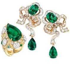 Dior gold, diamond and emerald Fontange Emeraude earrings. Chanel gold, diamond, emerald and tourmaline Epi d'Eté ring.