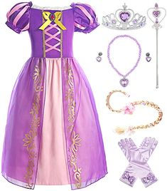 ReliBeauty Girls Dress Puff Sleeve Princess Costume Purple(with Accessories) - Cheap Dresses - Ideas of Cheap Dresses Girls Dress Up, Little Girl Dresses, The Dress, Princess Fancy Dress, Disney Princess Dresses, Princess Costumes For Girls, Girls Mermaid Costume, Disney Dress Up, Princess Style