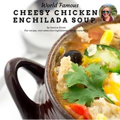 This just might be the best cheesy chicken enchilada soup you have ever had. Cheesy Chicken Enchiladas, Chicken Enchilada Soup, Copycat, Deli, Cheeseburger Chowder, Bakery, Favorite Recipes, Sweet, Life