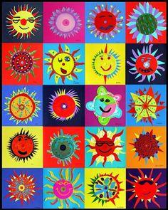 Laat iedere leerling 1 zon tekenen. Super leuk om ze daarna bij elkaar te voegen.