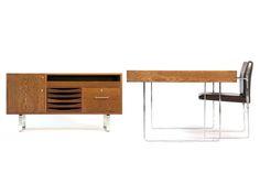 Desk and sideboard in wenge and polished chrome, Johannes Hansen. Hans Wegner.