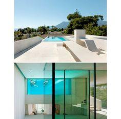 スペインのWiel Arets Architectsによる別荘邸「Jellyfish House」は、2階にあるプールが特徴のコンクリート住宅。