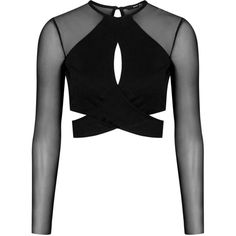 **Monaco Long Sleeve Top by TFNC (640 MXN) ❤ liked on Polyvore featuring tops, black, cross over top, tfnc, long sleeve mesh top, long sleeve surplice top and black top