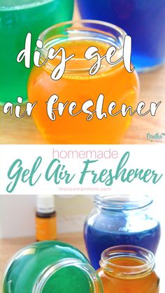 HOMEMADE GEL AIR FRESHENER Need a natural way to scent your home? Everyone loves a nice scent in their homes! This gel air freshener is useful, affordable and so easy peasy to make! Homemade Air Freshener, Natural Air Freshener, Diy Air Fresheners, Car Air Freshener, Belem, Sell Diy, Diy Crafts To Sell, Fun Craft, Gel Candles