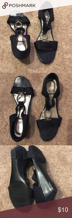 Navy blue sandals Impo stretch navy low heel sandals with silver emblem on top of foot.  Worn one time. impo Shoes Sandals