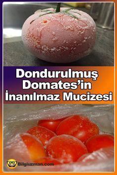 Kış aylarında lezzetli doğal ve organik domates hatta domates bulmak oldukça zordur diyebiliriz.  #domates #dondurulmuş #mucize #sebze Cantaloupe, Hamburger, Pasta, Bread, Fruit, Cooking, Kitchen, Food, Health