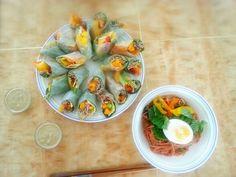 Vegi spring rolls with home-made saseme tofu sauce, and Kimchi cold noodles. :b