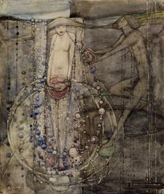 Frances Macnair (1871 - 1924),Man makes the beads of life but woman must thread them. Frances was the sister of Margaret MacDonald married to C.R. Mackintosh