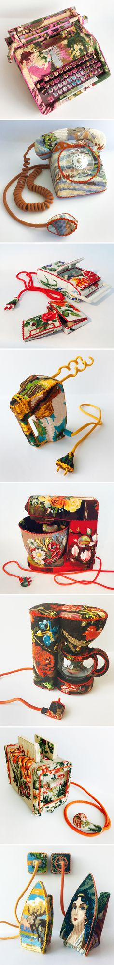 found objects covered with found cross-stitch <3 work by  ulla-stina wikander