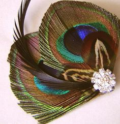 Peacock Feather Hair Clip with Pheasant Feathers and Rhinestone Wedding Party Hair Fascinator Clip