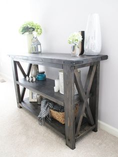 Rustic X Distressed Handmade Console / Media Table / Bookshelf