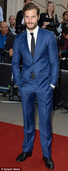 Fifty shades of blue: #Jamie Dornan foregoes traditional black for his dapper outfits