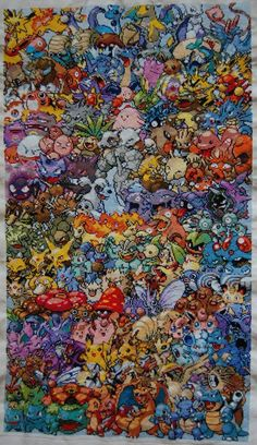 Finished Epic Pokemon Cross Stitch... It would be a struggle. This is amazing.