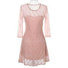 Fashion Women Lady Sexy Lace Skater Dress Half Sleeve Scoop Neck Light Pink